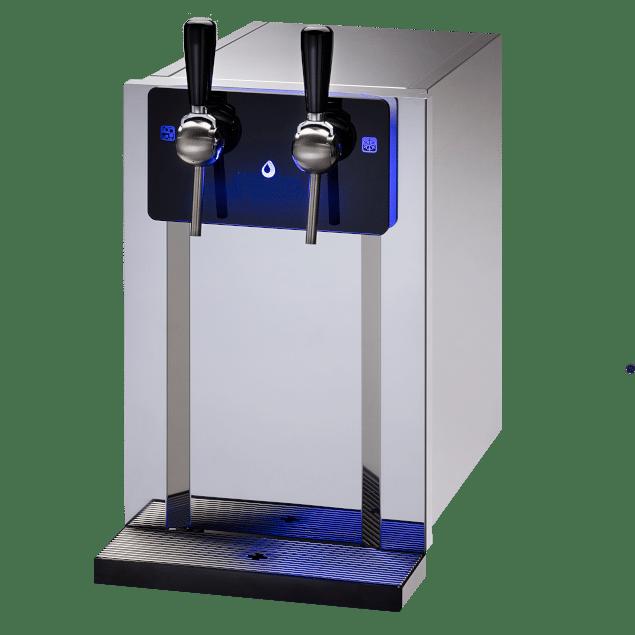Fontaine à eau filtrée d'intérieur ecobar. Elle est fabriquée entièrement en acier inoxydable et distributeur de l'eau plate ou gazeuse, fraîche, tempérée ou chaude.