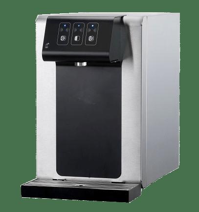 Fontaine à eau filtrée sur comptoir pour bureau, entreprise ou société belge ecosoda. Elle distribue de l'eau plate ou pétillante, fraîche, tempérée ou chaude et zéro déchet. Elle est équipée de filtre à eau performants.