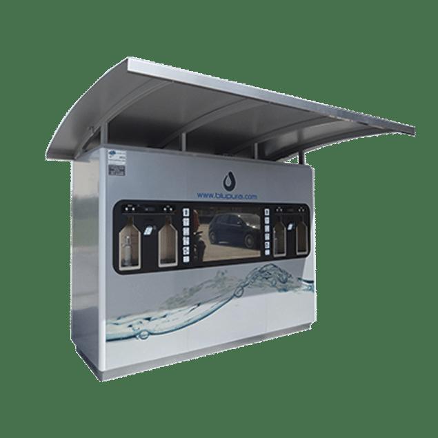 Fontaine à eau filtrée pour secteur public. Distributeur d'eau filtrée ecoaqua adapté pour les communes ou pour le secteur public. Elle est équipée d'un système de triple filtration garantissant une eau de qualité et de goût optimal et d'un système de vente individuelle.
