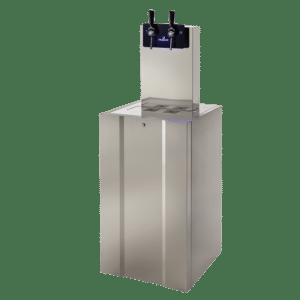 Distributeur d'eau connecté au réseau et zero déchet avec système de pompe manuel sur sol