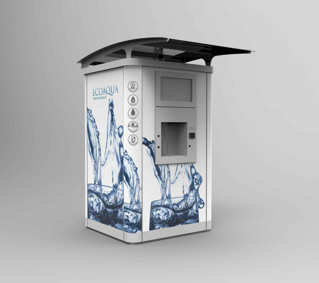 Fontaine à eau d'extérieur au design original ecoaqua. Elle est équipée d'un système de triple filtration garantissant une eau de qualité et de goût optimal et d'un système de vente individuelle.